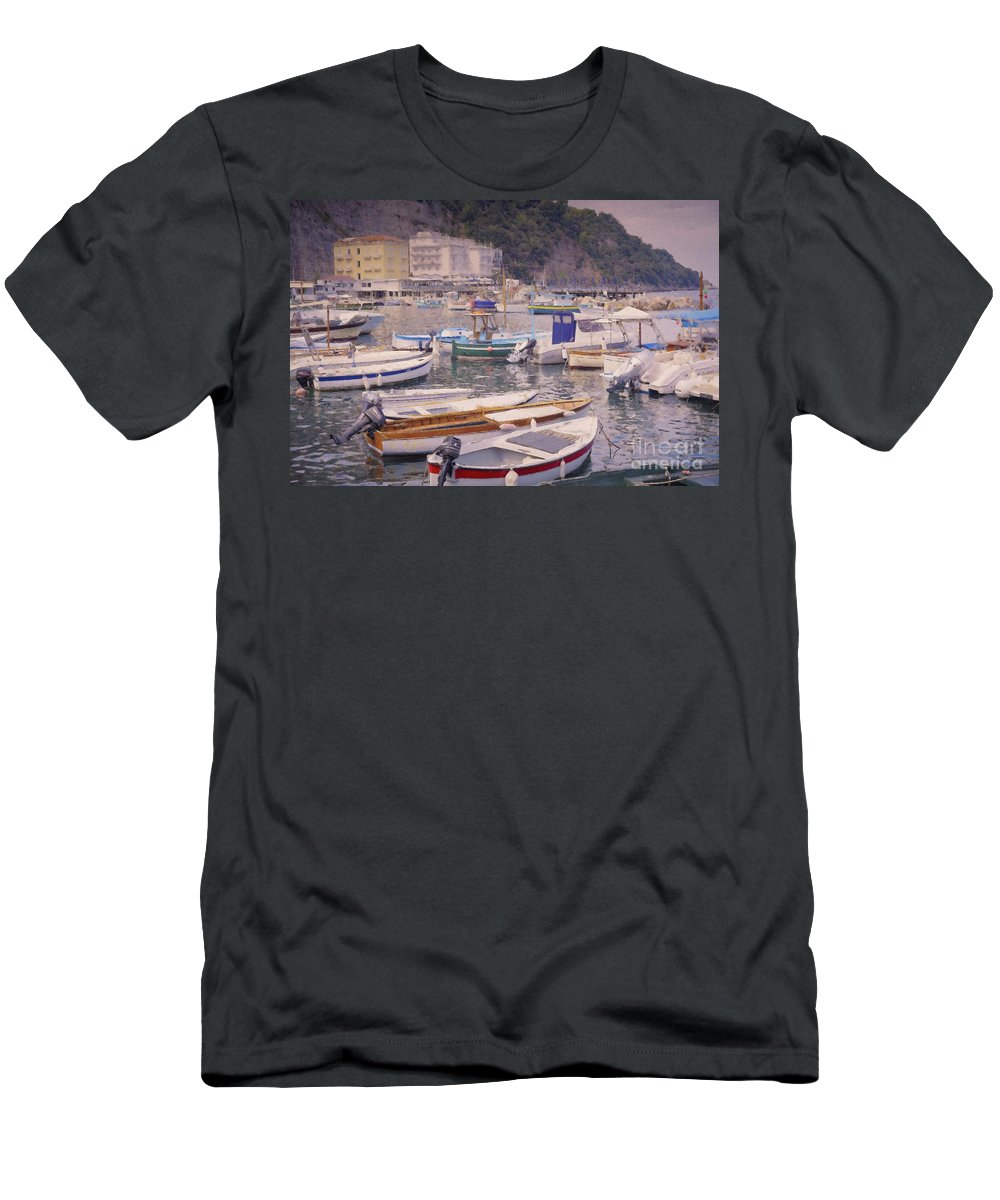 Marina Grande Men's T-Shirt (Athletic Fit) featuring the digital art Boats In The Marina Grande - Sorrento by Mary Machare