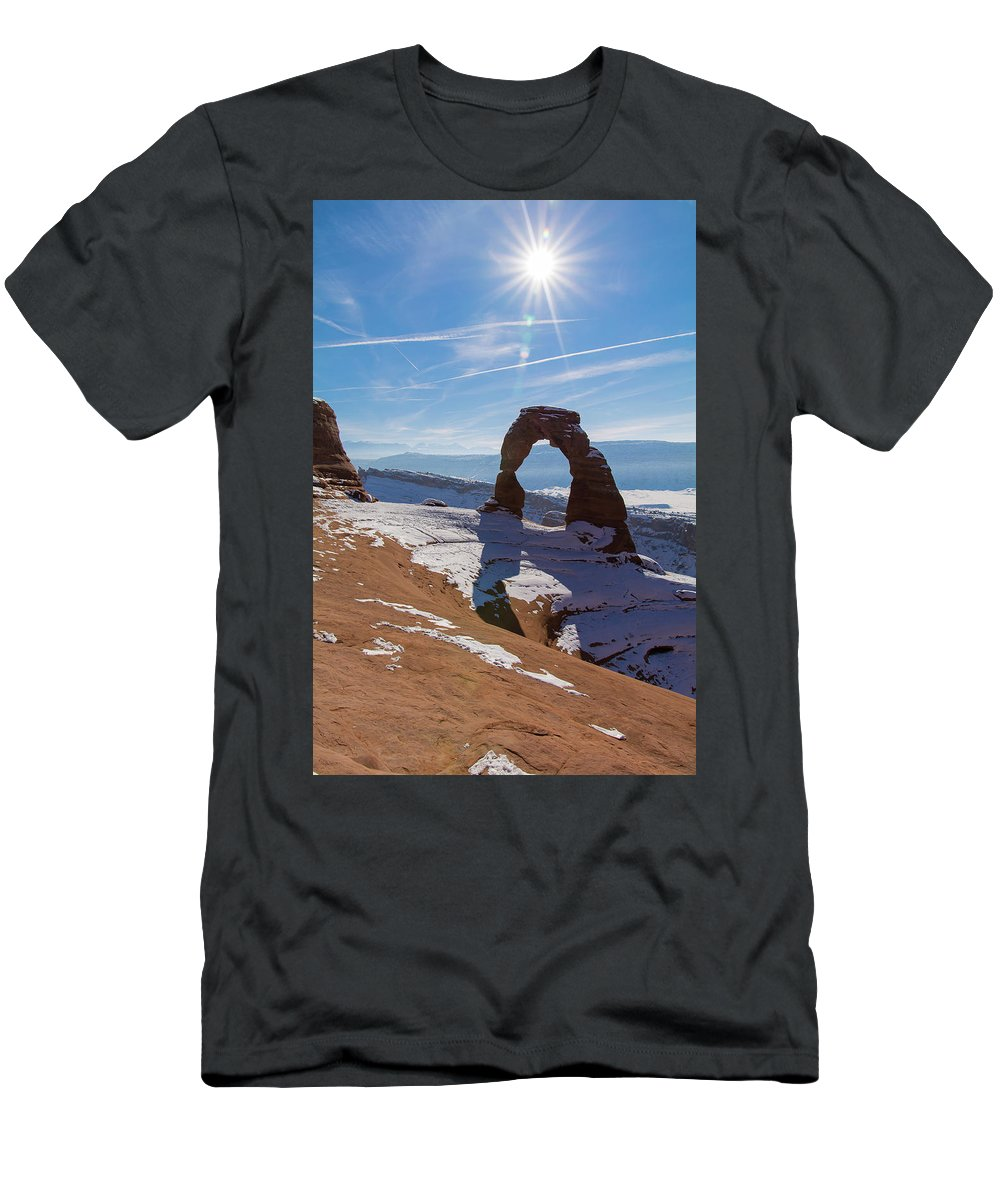 Delicate Arch Men's T-Shirt (Athletic Fit) featuring the photograph Delicate Arch by Robert VanDerWal