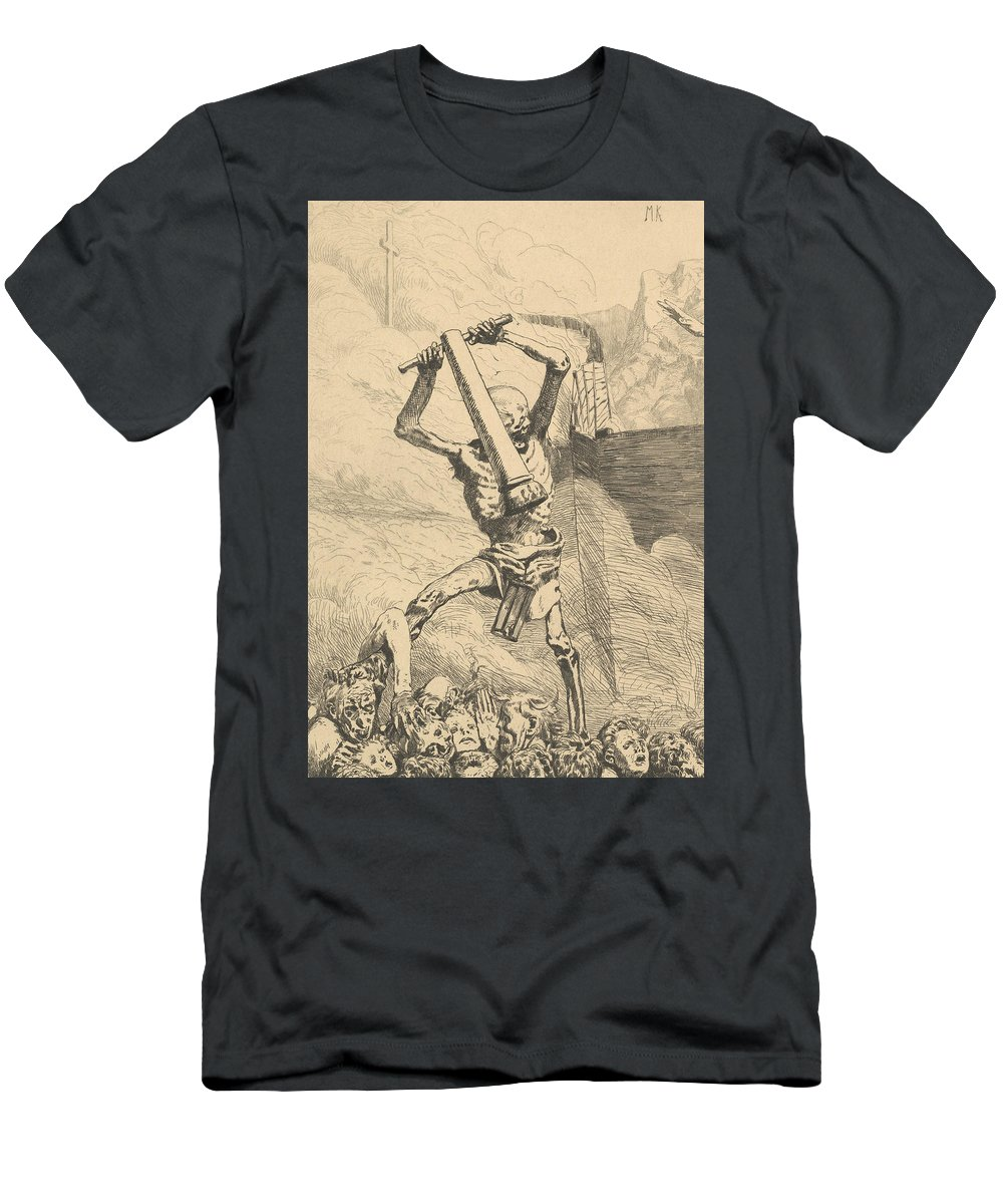 19th Century Art Men's T-Shirt (Athletic Fit) featuring the relief Dritte Zukunft From Eva Und Die Zukunft by Max Klinger