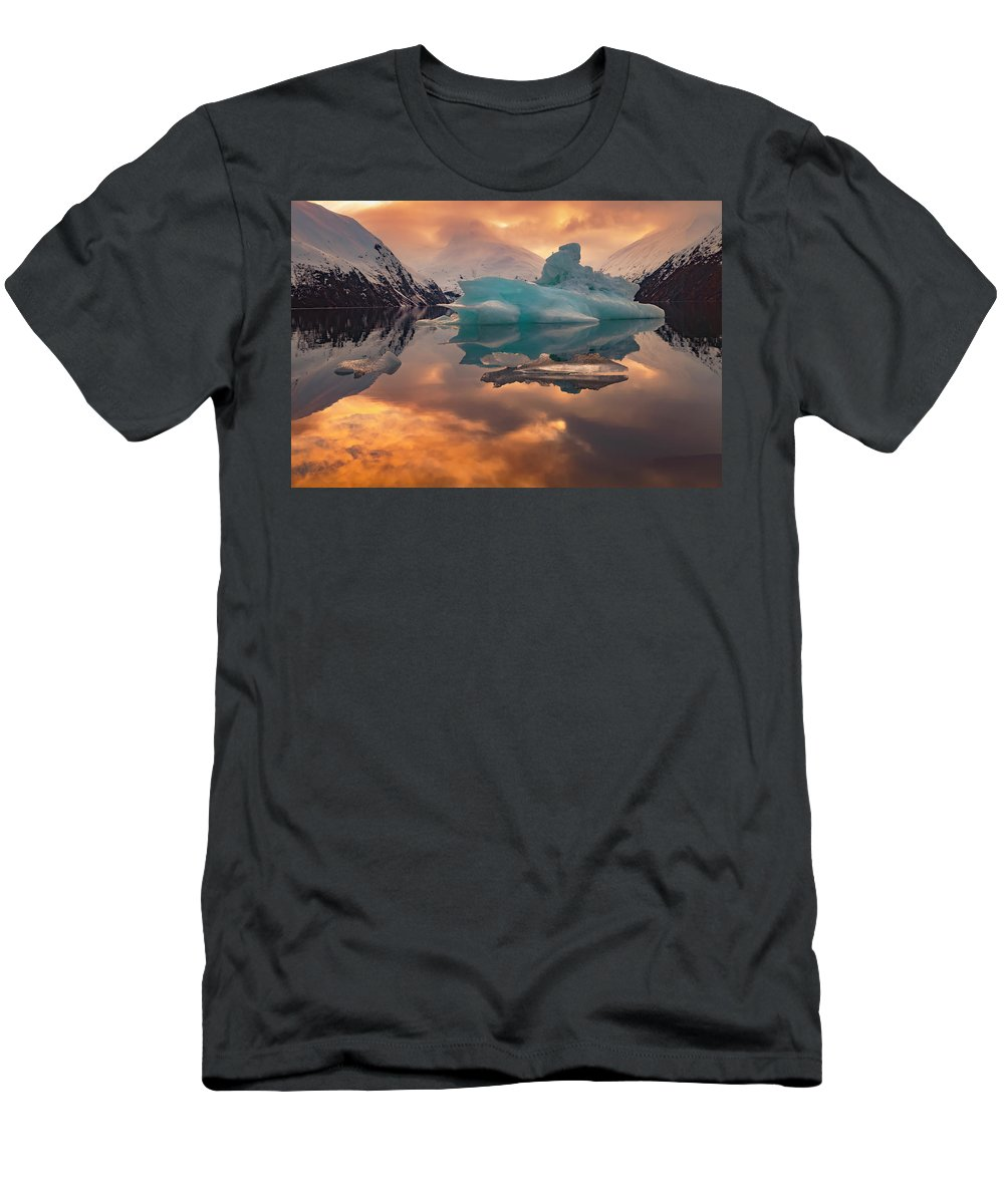 Alaska Men's T-Shirt (Athletic Fit) featuring the photograph Sunset On Iceberg by Scott Slone