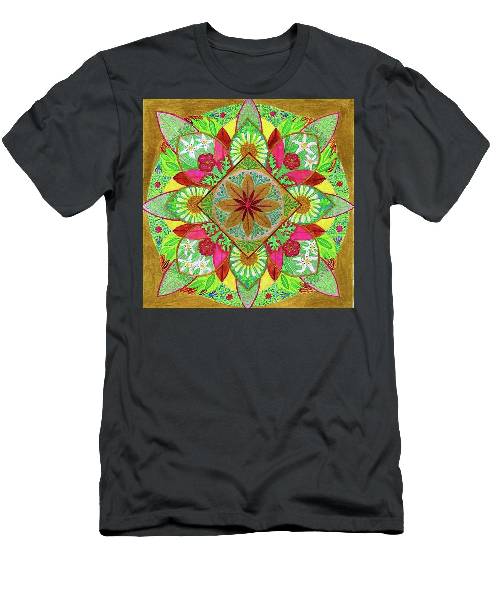 Mandala. Flowers. Garden Men's T-Shirt (Athletic Fit) featuring the painting Flower Garden Mandala by Sandy Thurlow