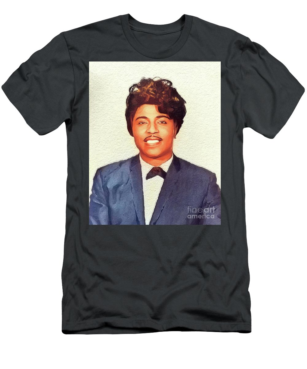 Little Men's T-Shirt (Athletic Fit) featuring the painting Little Richard, Music Legend by John Springfield