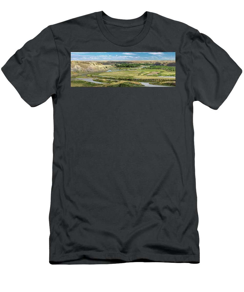 Panorama T-Shirt featuring the photograph Marias River Valley by Todd Klassy