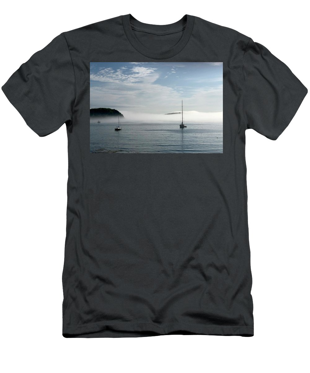 Seascape Men's T-Shirt (Athletic Fit) featuring the photograph Morning Mist On Frenchman's Bay by Dick Goodman