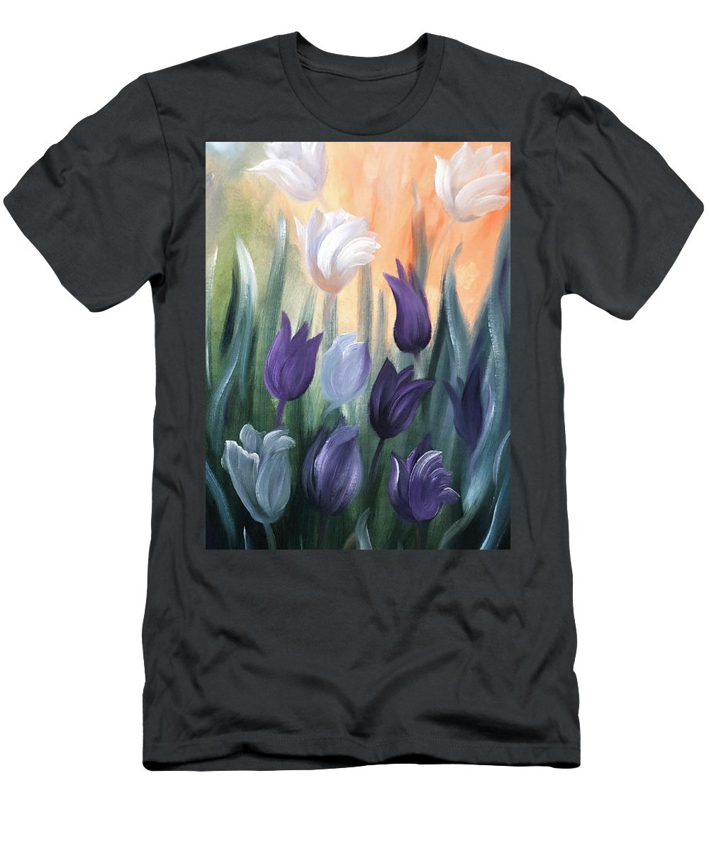 Tulip Men's T-Shirt (Athletic Fit) featuring the painting Tulips by Gina De Gorna
