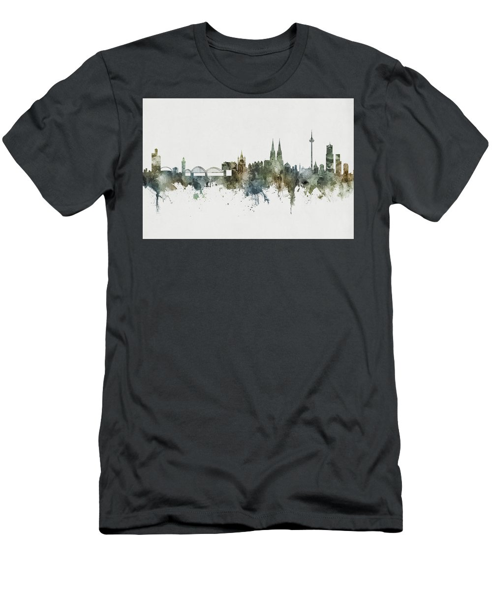 Cologne Men's T-Shirt (Athletic Fit) featuring the digital art Cologne Germany Skyline by Michael Tompsett