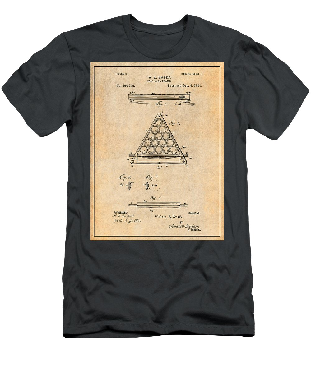 Art & Collectibles Men's T-Shirt (Athletic Fit) featuring the drawing 1891 Billiard Ball Rack Patent Print Antique Paper by Greg Edwards