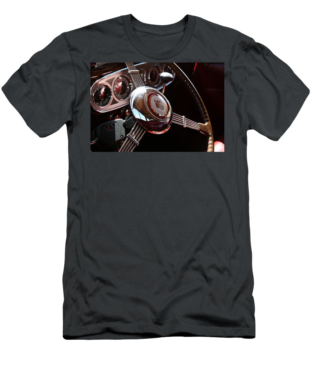 Automobile Men's T-Shirt (Athletic Fit) featuring the photograph 1937 Vintage Model 1508 Steering Wheel by Debi Dalio