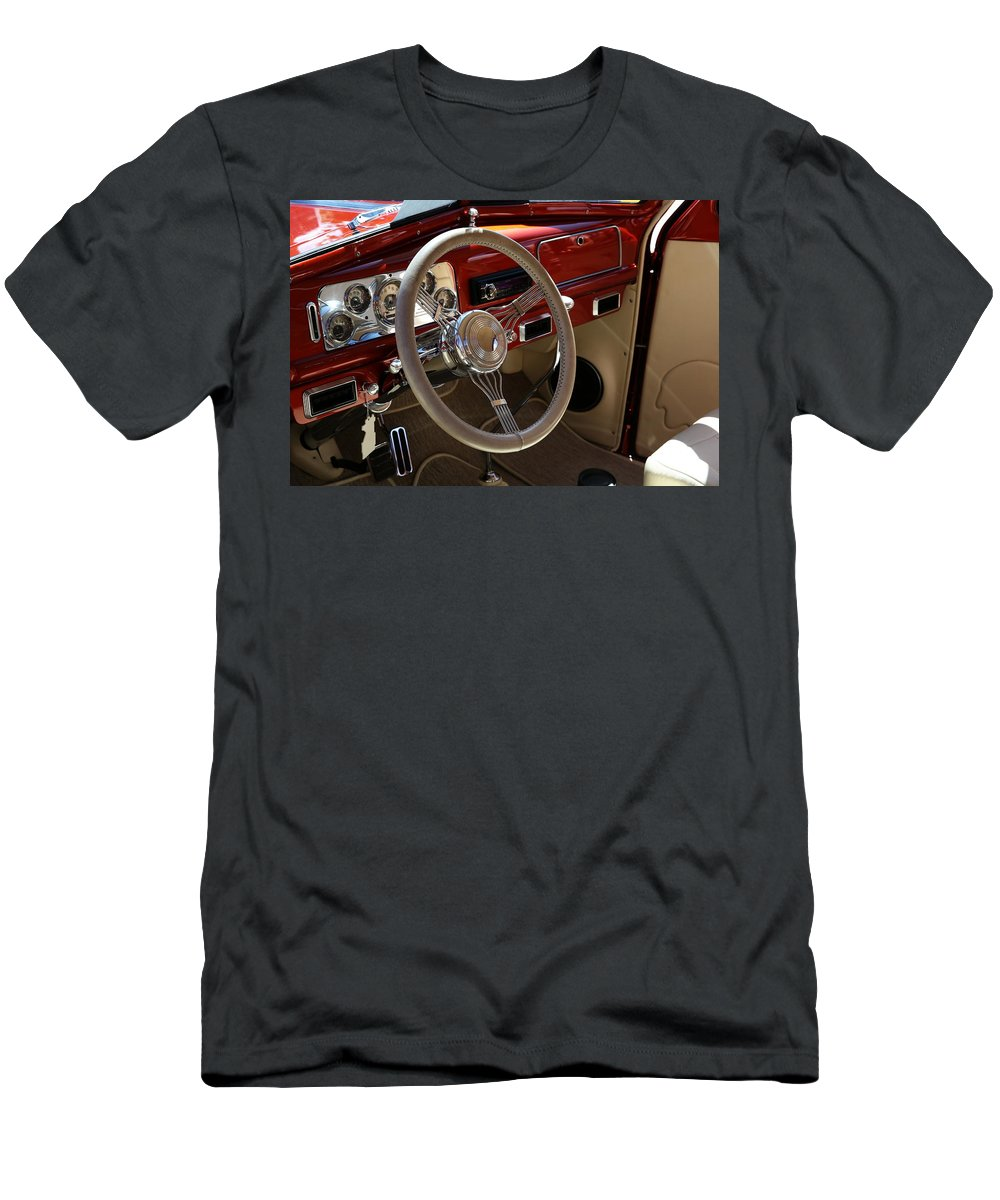 Automobile Men's T-Shirt (Athletic Fit) featuring the photograph 1938 Pontiac Silver Streak Interior by Debi Dalio