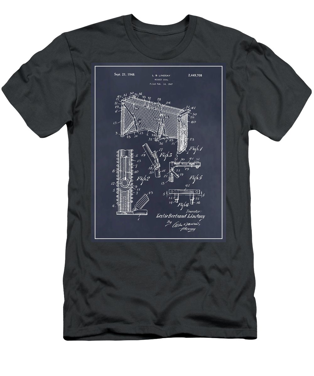 Art & Collectibles Men's T-Shirt (Athletic Fit) featuring the drawing 1947 Hockey Goal Patent Print Blackboard by Greg Edwards