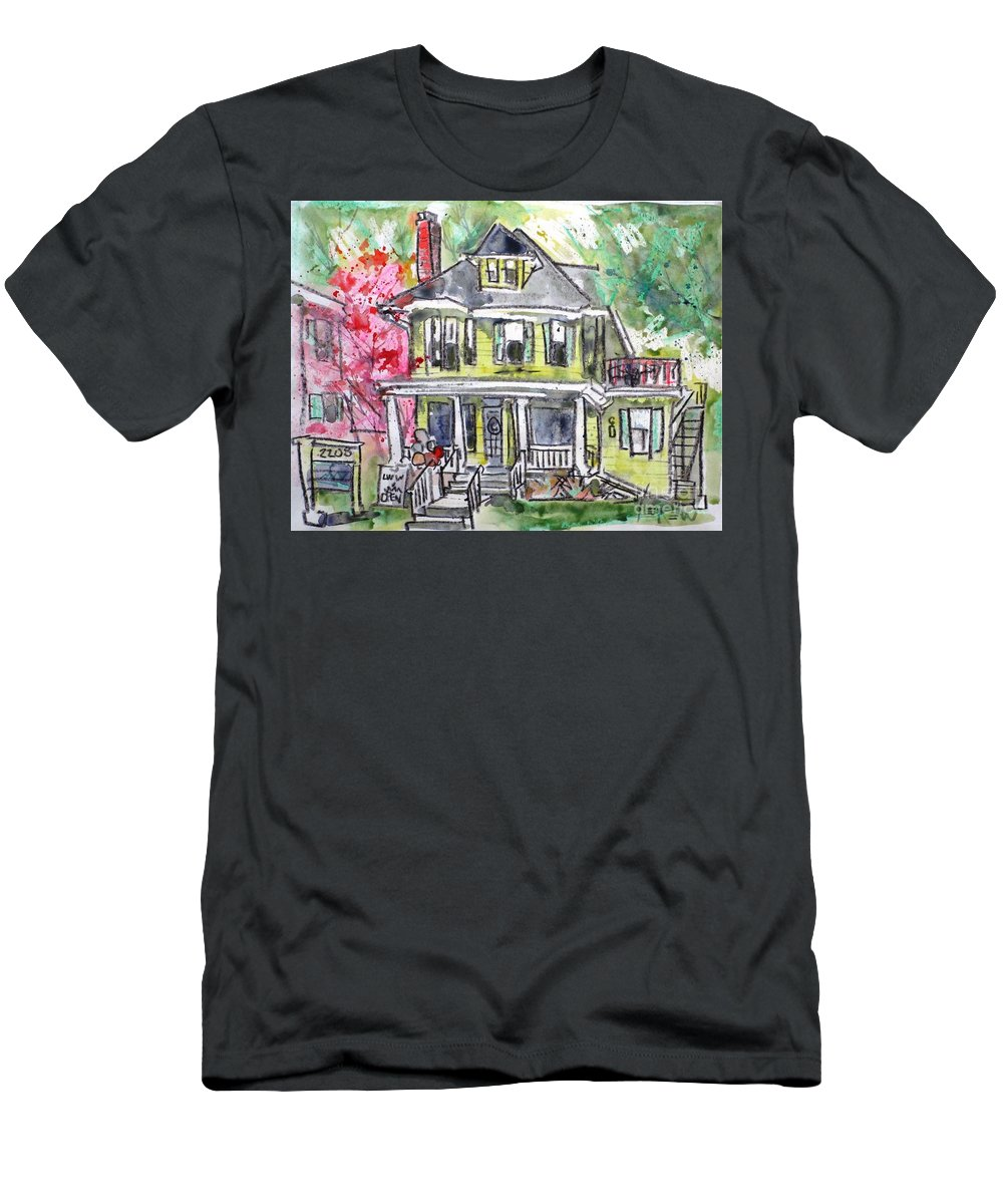 Camp Hill Men's T-Shirt (Athletic Fit) featuring the painting 2208 Market Street 2 by Larry Lerew