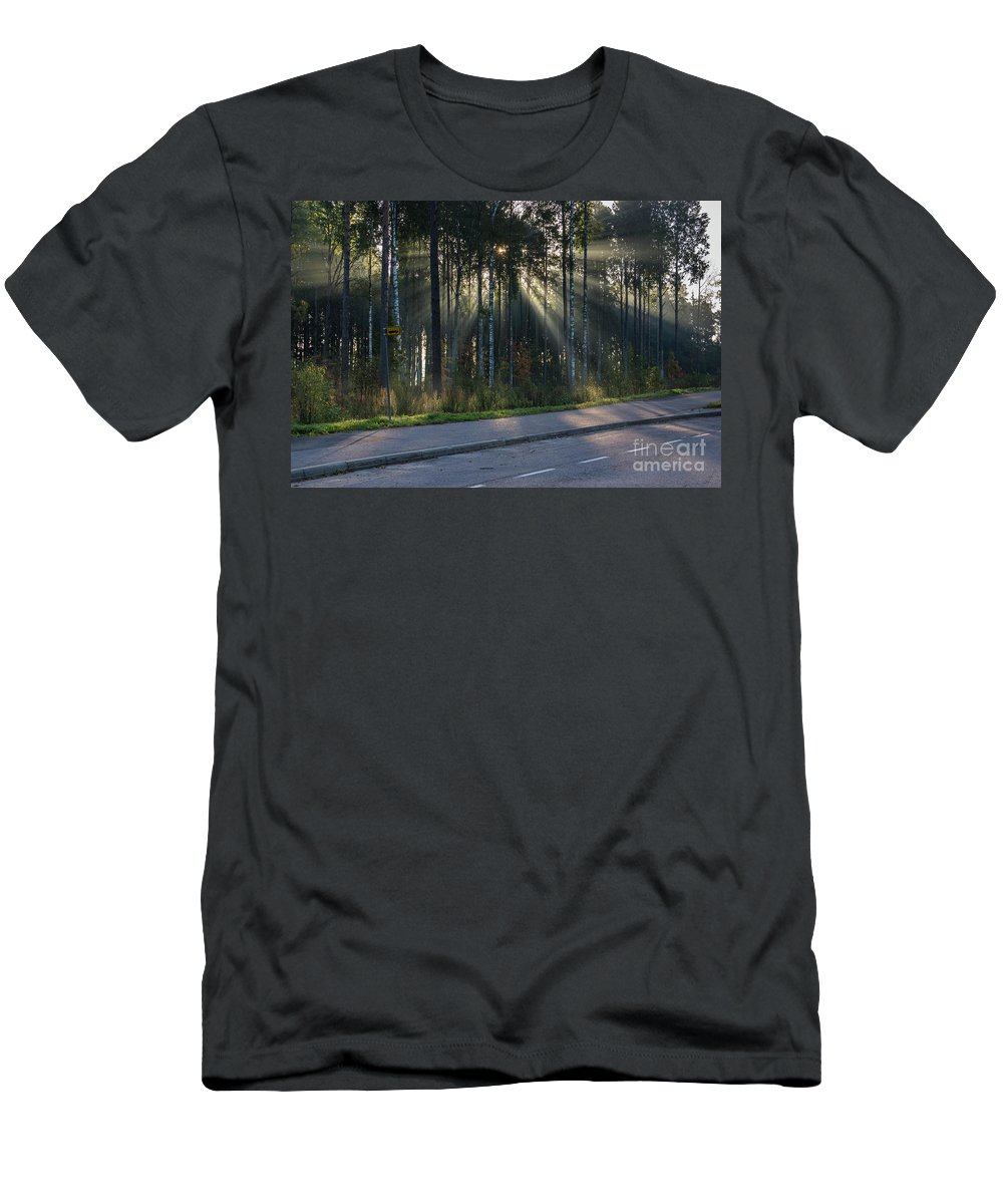 Morning Sun Sunrise Sky Mist Fog Light Shadow Contrast Sunlight Rays Tree Trees Forest Pine Birch Road Asphalt Reflection September Finland Men's T-Shirt (Athletic Fit) featuring the photograph Misty Morning by Anita Raunio
