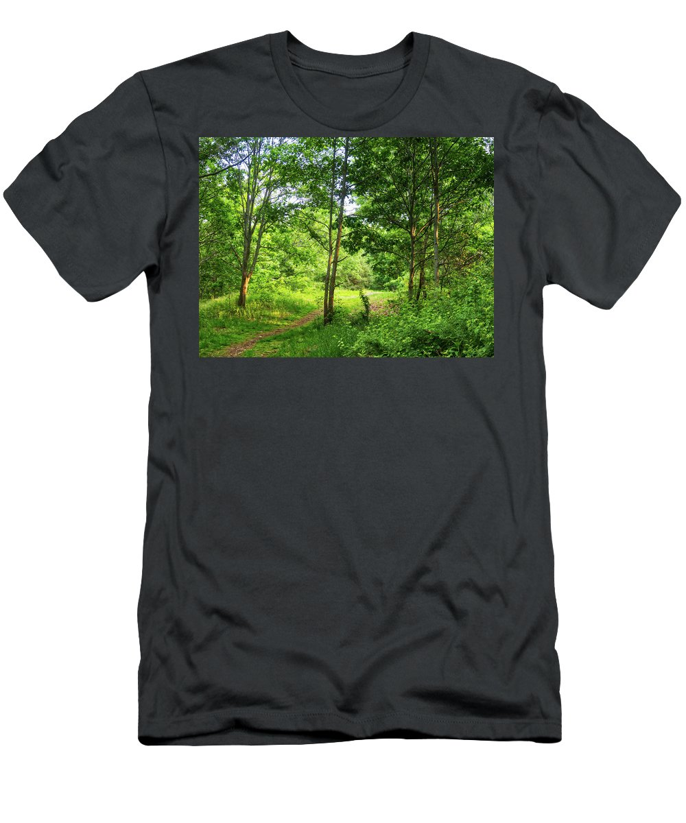 Trail Men's T-Shirt (Athletic Fit) featuring the photograph Green's Hill by Scott Hufford
