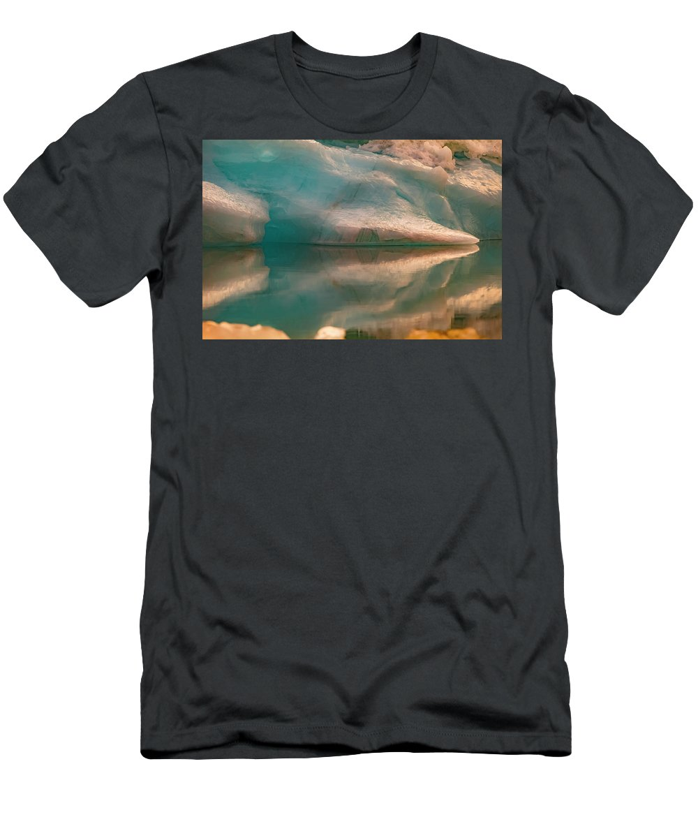Ice Men's T-Shirt (Athletic Fit) featuring the photograph Sunset On Ice by Scott Slone
