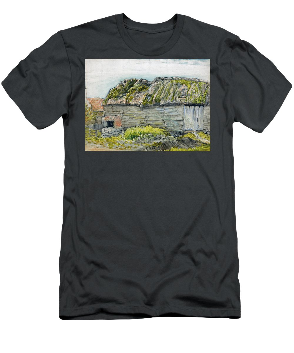 Samuel Palmer T-Shirt featuring the painting A Barn with a Mossy Roof, Shoreham - Digital Remastered Edition by Samuel Palmer