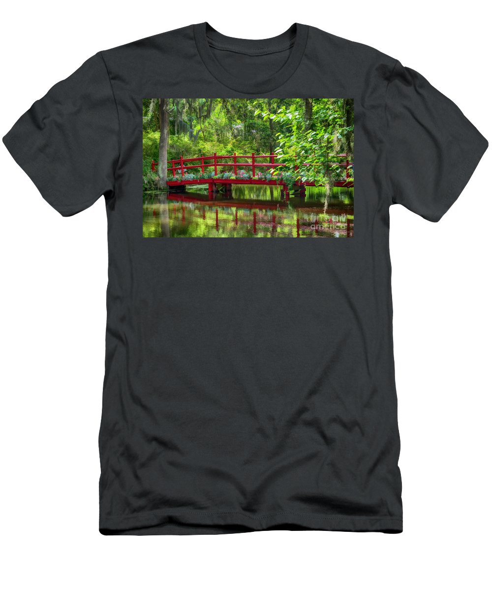 Bridge. Water Men's T-Shirt (Athletic Fit) featuring the photograph A Bridge Over The Gators. by Minnetta Heidbrink