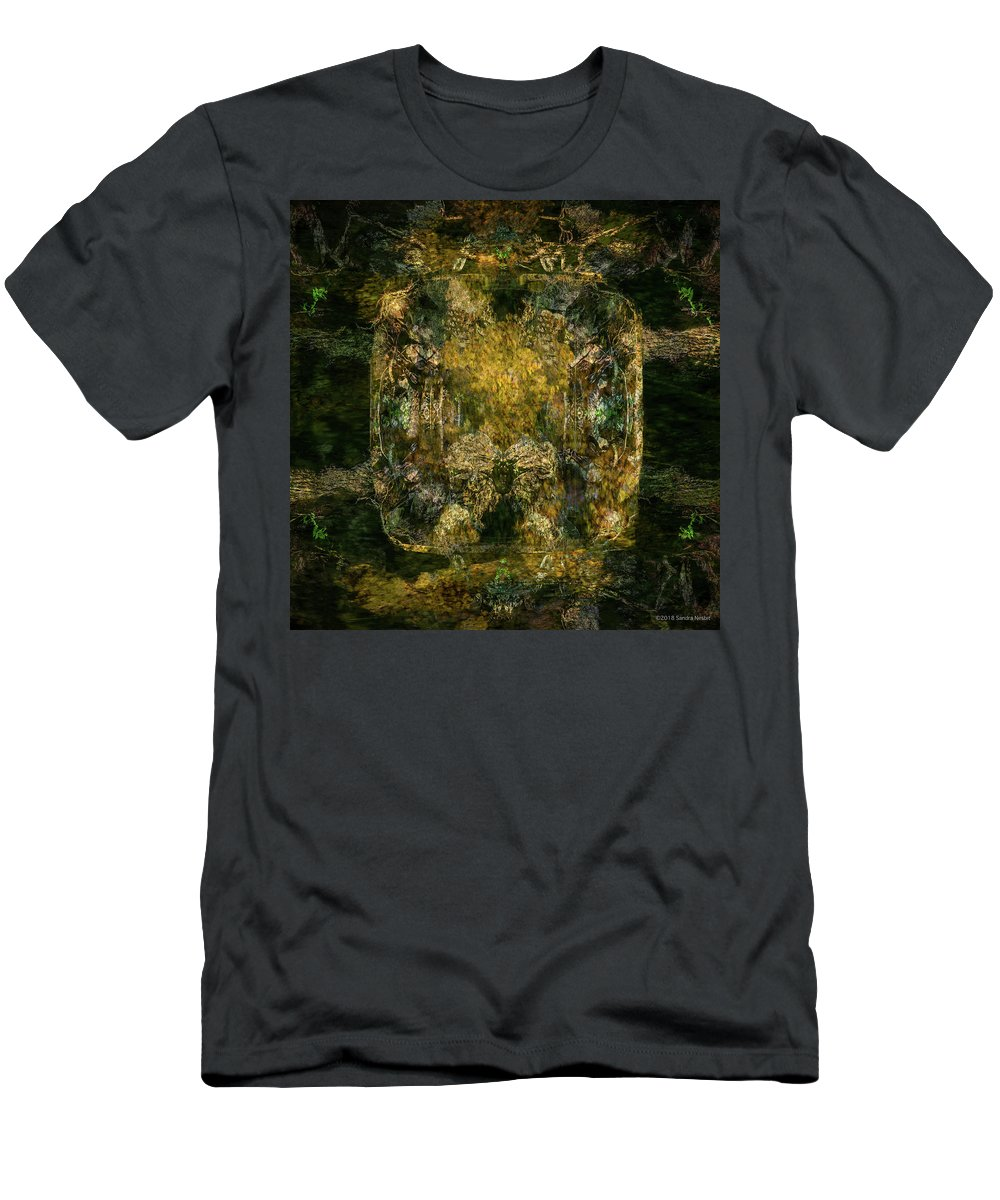 Multiple Exposure Men's T-Shirt (Athletic Fit) featuring the photograph A Place Like Precious Metal by Sandra Nesbit