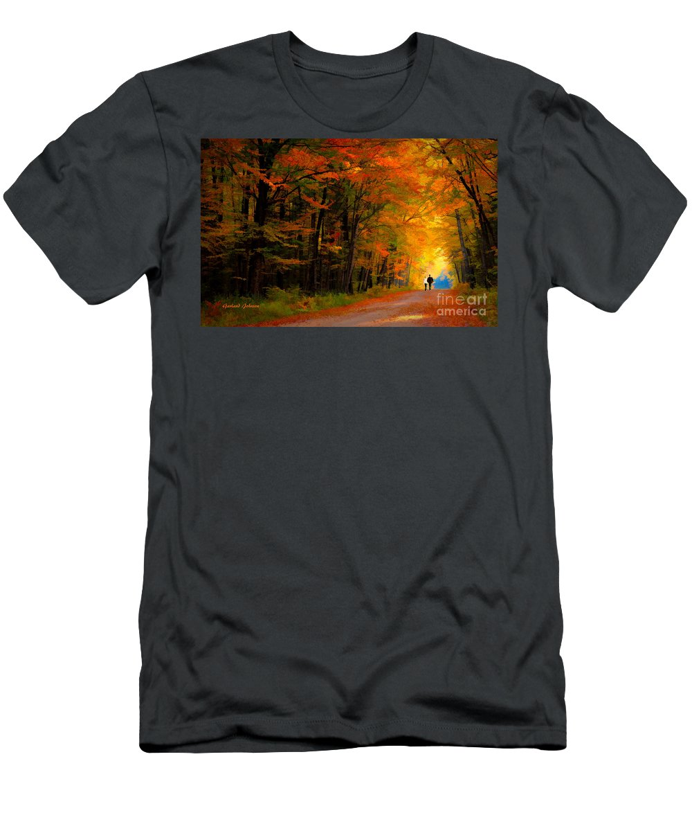 Autumn Men's T-Shirt (Athletic Fit) featuring the digital art A Walk Through The Autumn Trees 1 by Garland Johnson