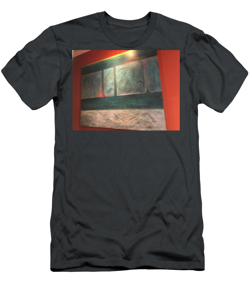 Zebra Men's T-Shirt (Athletic Fit) featuring the painting Painting On The Wall by Laureen Sabella