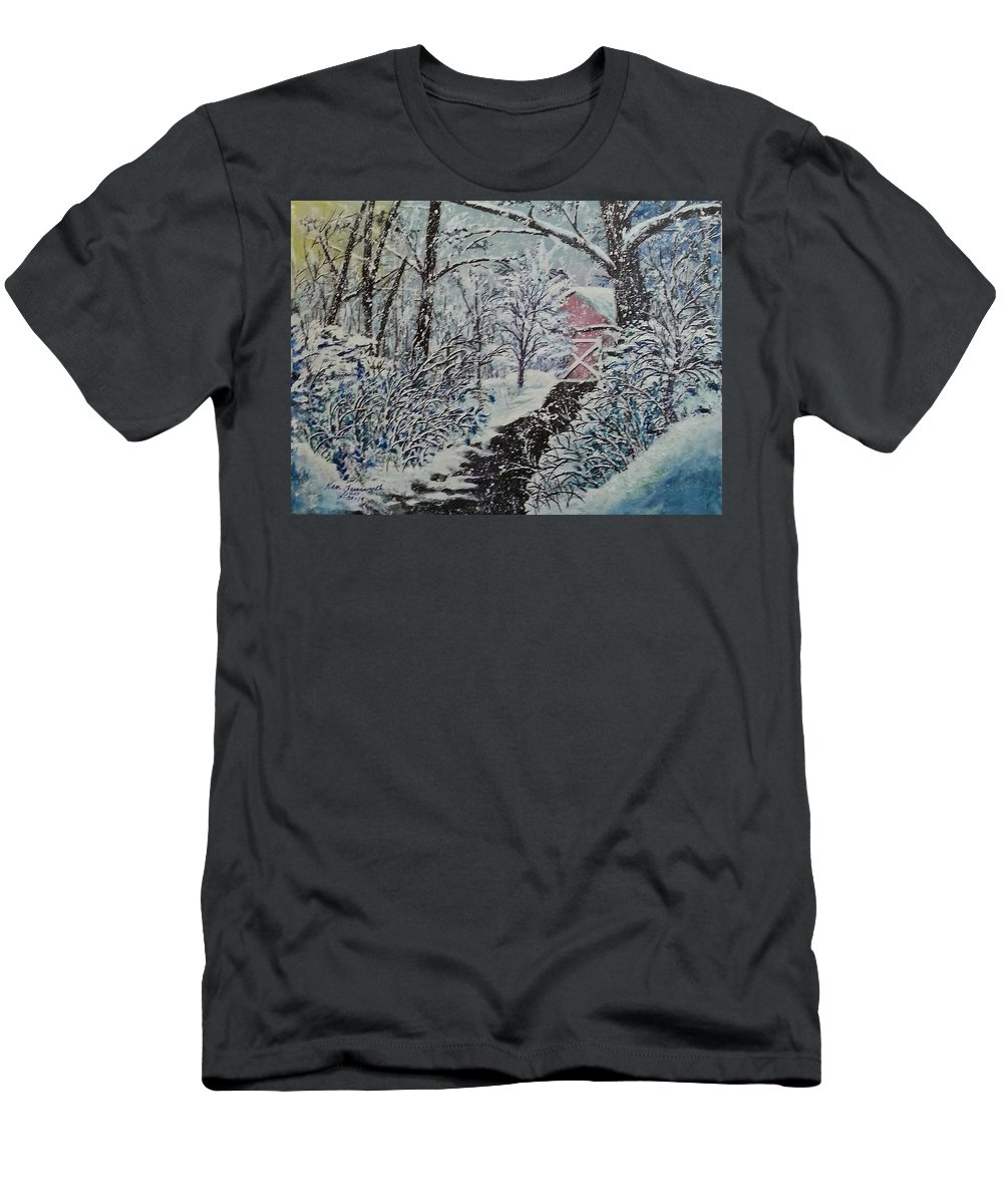 Landscape Men's T-Shirt (Athletic Fit) featuring the painting After Math by Ken Farnsworth