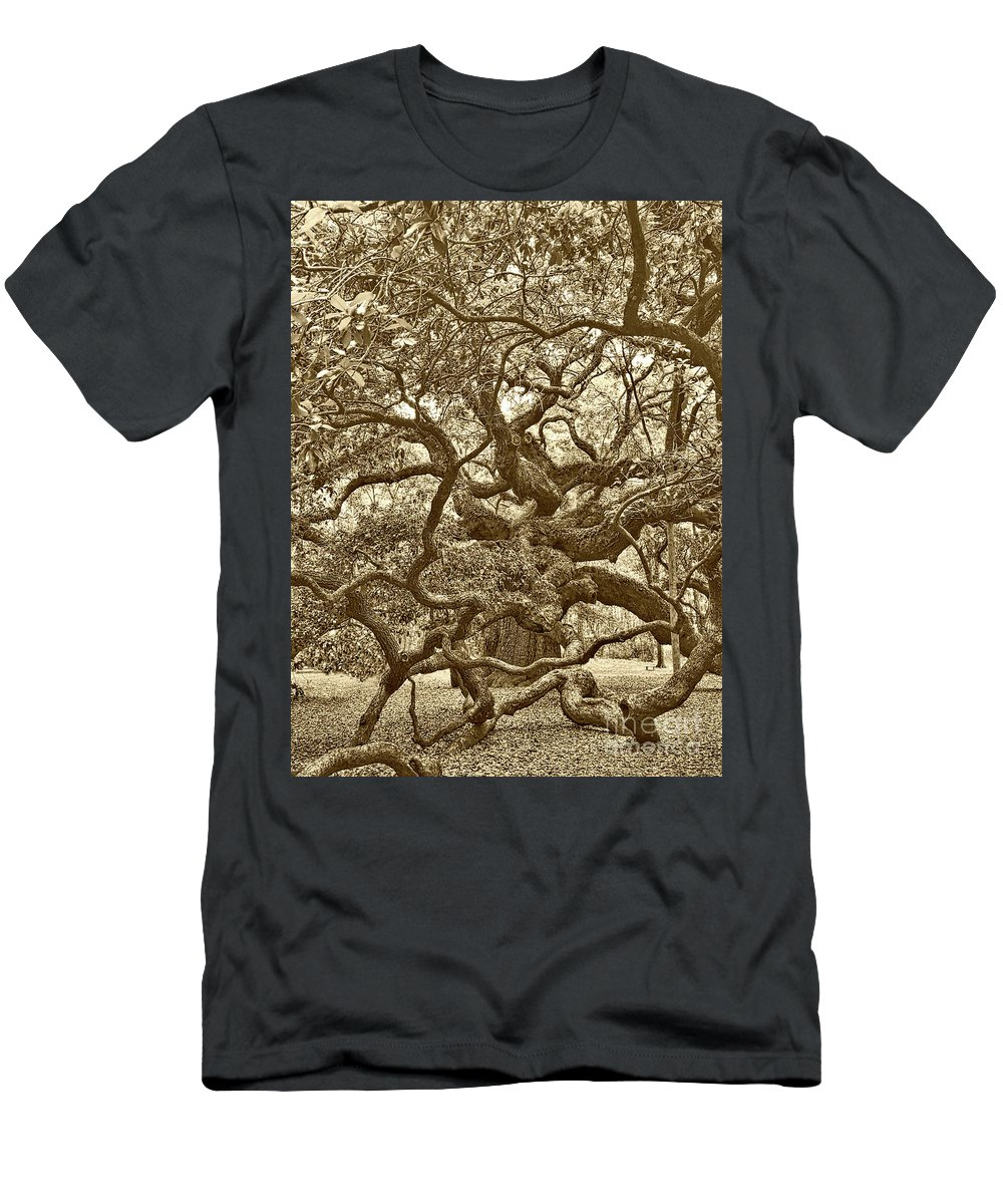 Angel Oak Men's T-Shirt (Athletic Fit) featuring the photograph Angel Oak Drama In Vintage Sepia by Carol Groenen