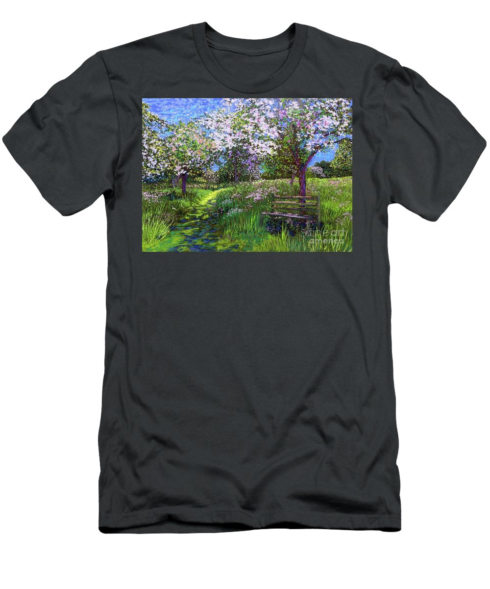 Sun Men's T-Shirt (Athletic Fit) featuring the painting Apple Blossom Trees by Jane Small