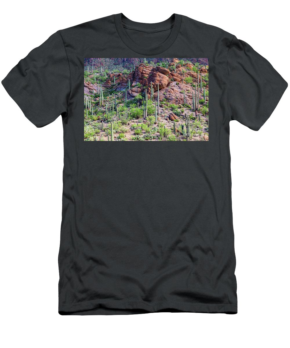 Arizona Men's T-Shirt (Athletic Fit) featuring the photograph Arizona Desert Saguaro Forest by James BO Insogna
