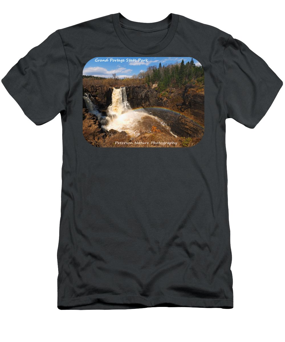 Nature Men's T-Shirt (Athletic Fit) featuring the photograph High Falls Rainbow by James Peterson
