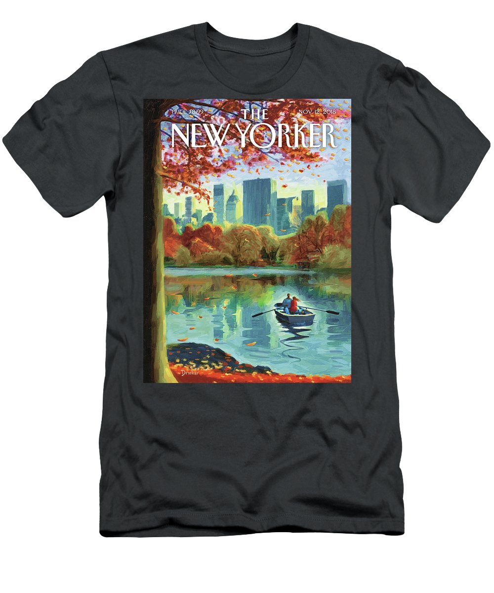Autumn Central Park T-Shirt featuring the drawing Autumn Central Park by Eric Drooker