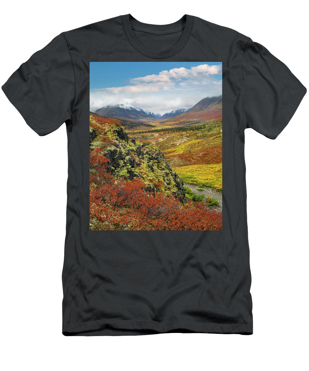 00586334 T-Shirt featuring the photograph Autumn Tundra, Tombstone Range, Tombstone Territorial Park, Yukon by Tim Fitzharris