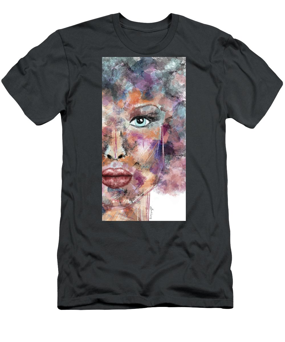 Woman's Face Men's T-Shirt (Athletic Fit) featuring the painting Autumn - Woman Abstract Art by Sannel Larson