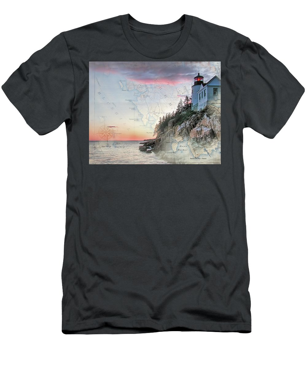 Lighthouses Of New England Men's T-Shirt (Athletic Fit) featuring the photograph Bass Harbor Lighthouse On A Chart by Jeff Folger