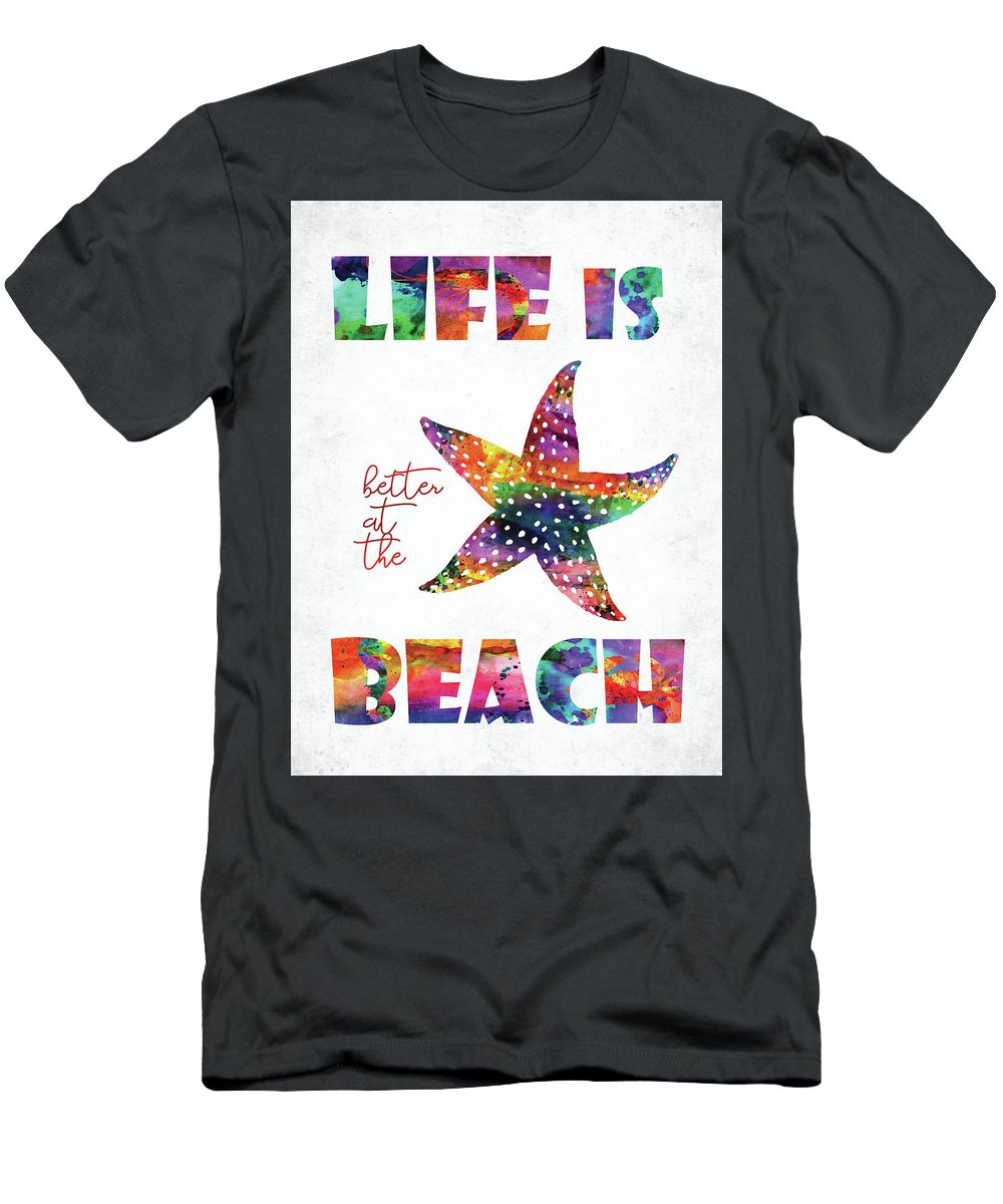 Quote T-Shirt featuring the digital art Beach Quote by Mihaela Pater