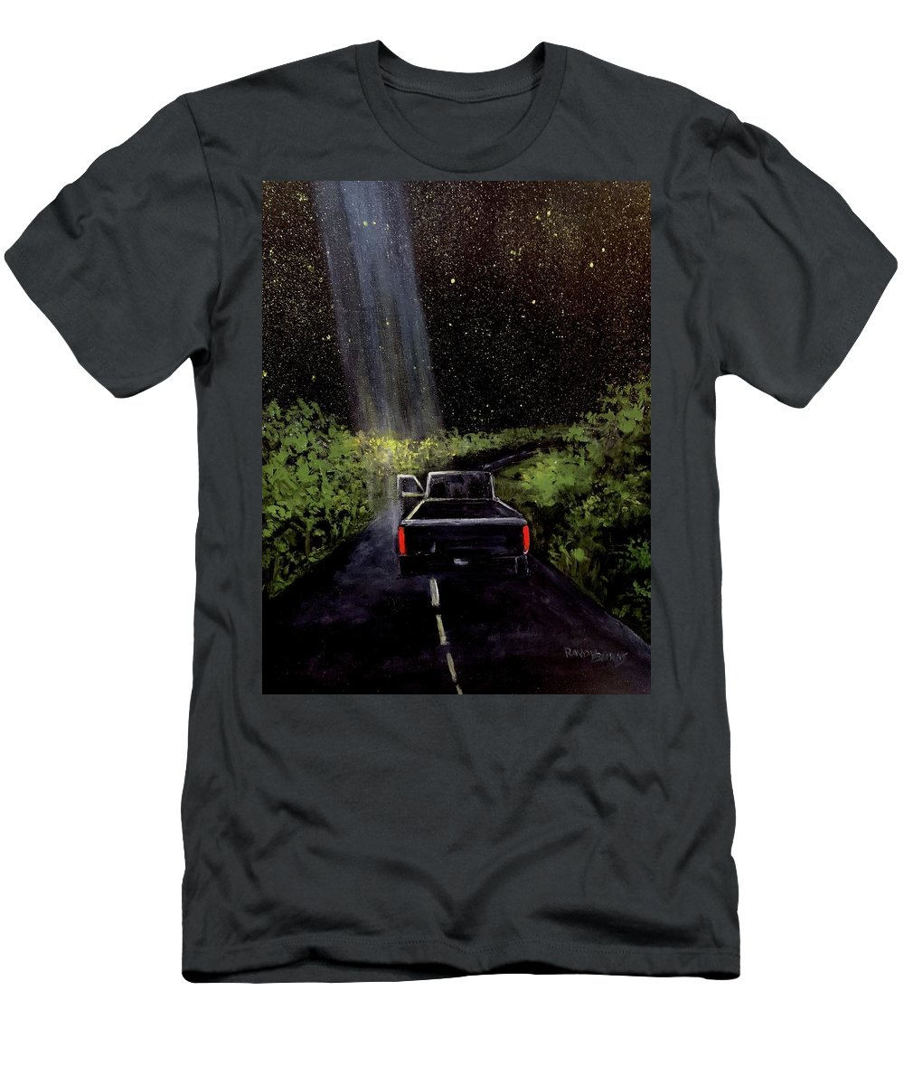 Ufo Men's T-Shirt (Athletic Fit) featuring the painting Beam by Randy Burns