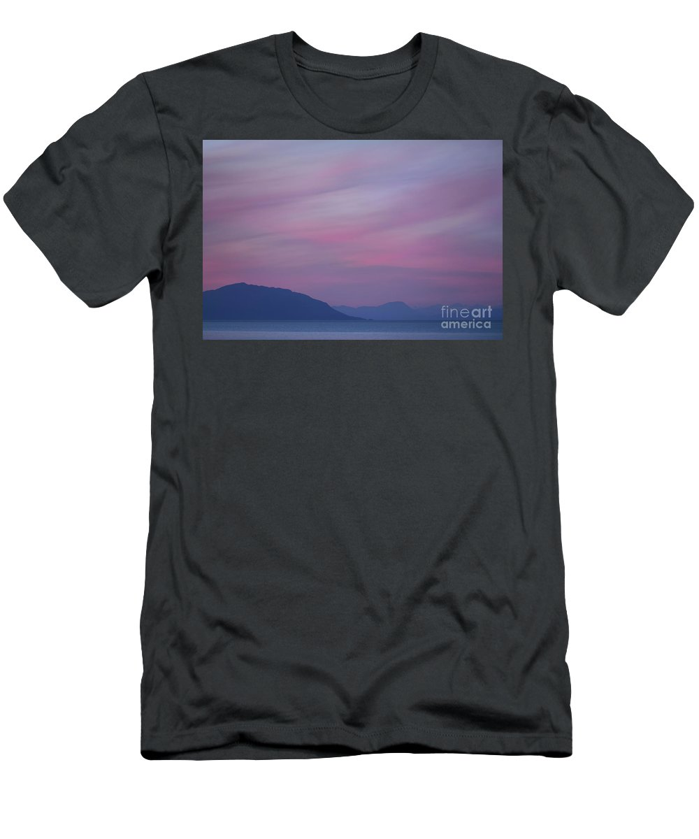 Skies Men's T-Shirt (Athletic Fit) featuring the photograph Beautiful Surreal Twilight Sky In Pink And Lavender Pastel Color by Awen Fine Art Prints