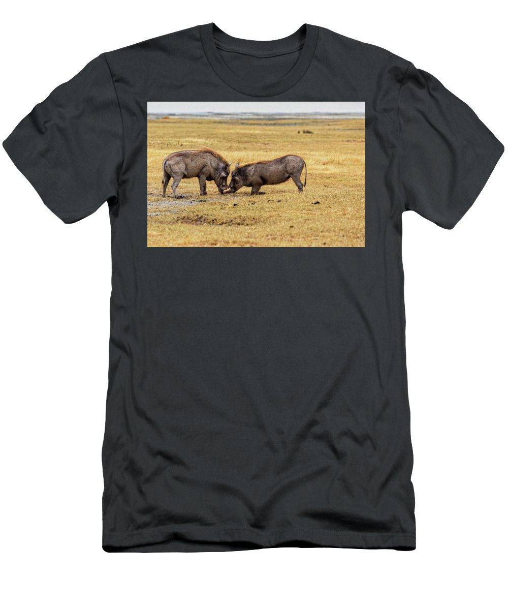Warthog Men's T-Shirt (Athletic Fit) featuring the photograph Beauty On The Hoof, The Warthog by Kay Brewer