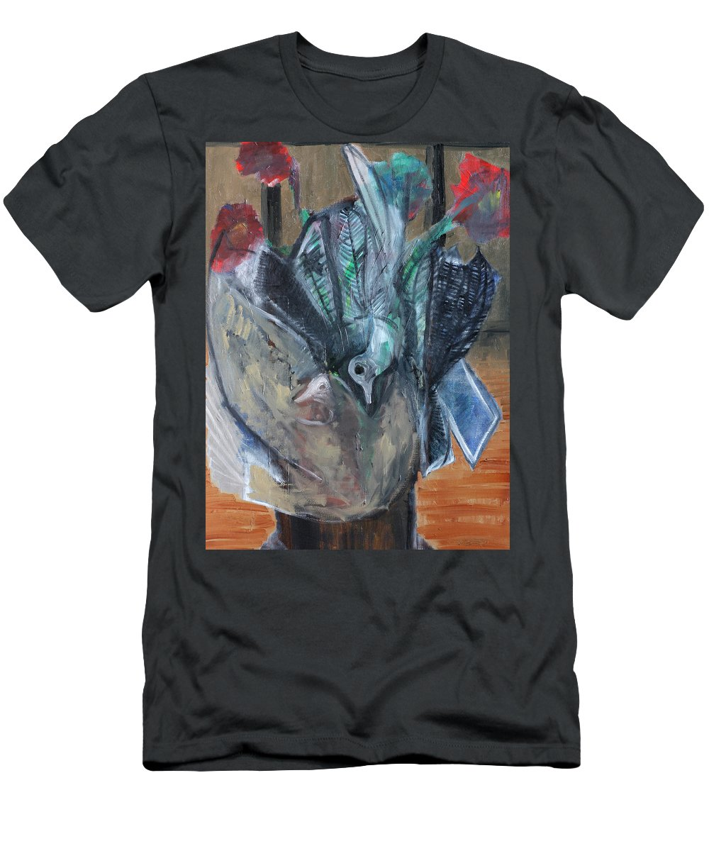 Bird Men's T-Shirt (Athletic Fit) featuring the painting Birds In Flowers by Artist Dot