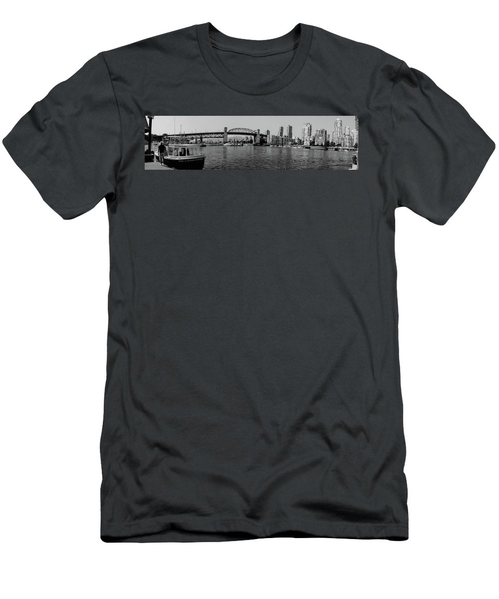 Residential Buildings Men's T-Shirt (Athletic Fit) featuring the photograph black and white panorama of Vancouver from plaza of nations showing the beautiful city by Kaleb Kroetsch