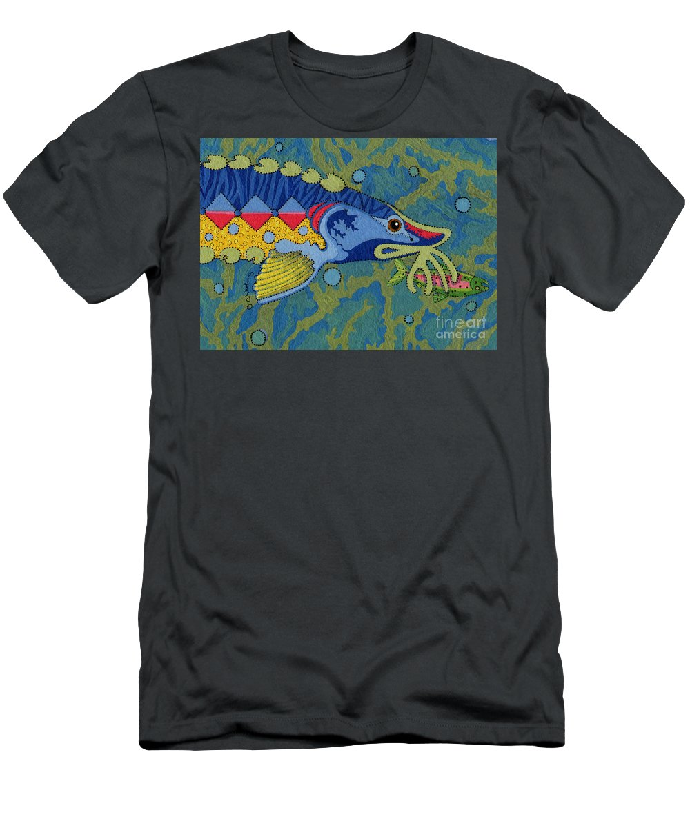 Native American T-Shirt featuring the painting Blessed Sturgeon by Chholing Taha