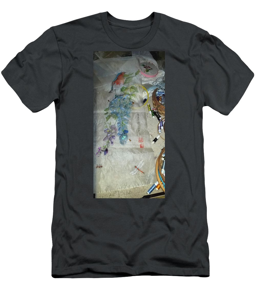 Bluebird. Wisteria. Gu Embroidery. Embroidery Table Men's T-Shirt (Athletic Fit) featuring the photograph Blue Bird And Wisteria by Debbi Saccomanno Chan