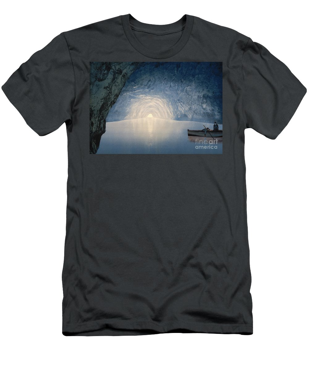Reflection T-Shirt featuring the painting Blue Grotto, Capri Island by American School