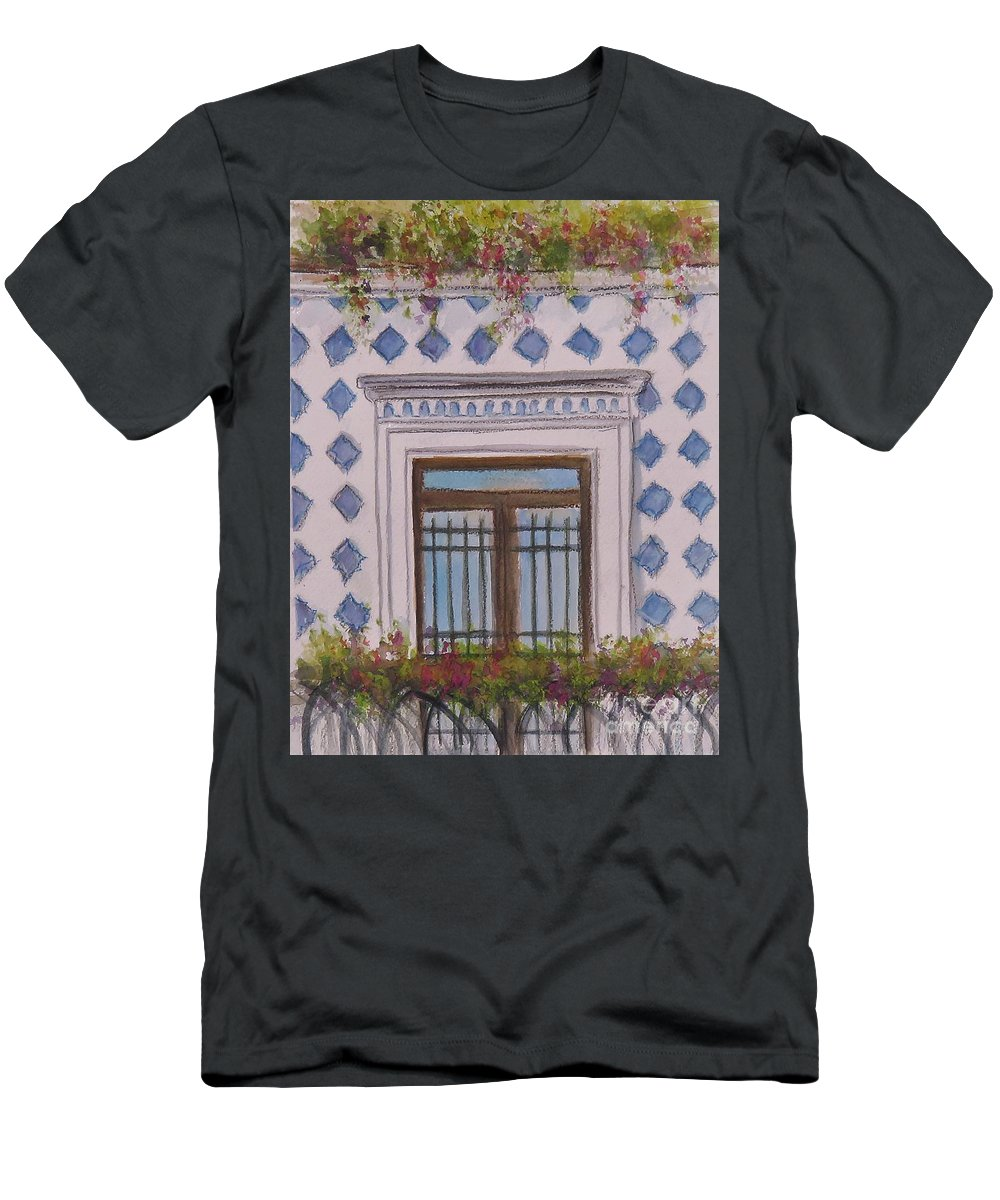 Amalfi T-Shirt featuring the painting Blue Tiled Balcony Of Amalfi by Laurie Morgan