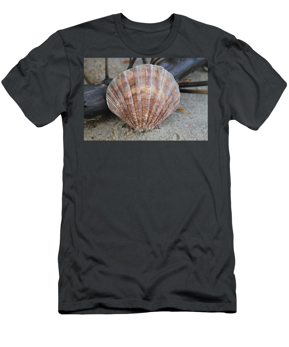 Shell Men's T-Shirt (Athletic Fit) featuring the photograph Brown Cockle Shell And Driftwood 2 by Cathy Lindsey