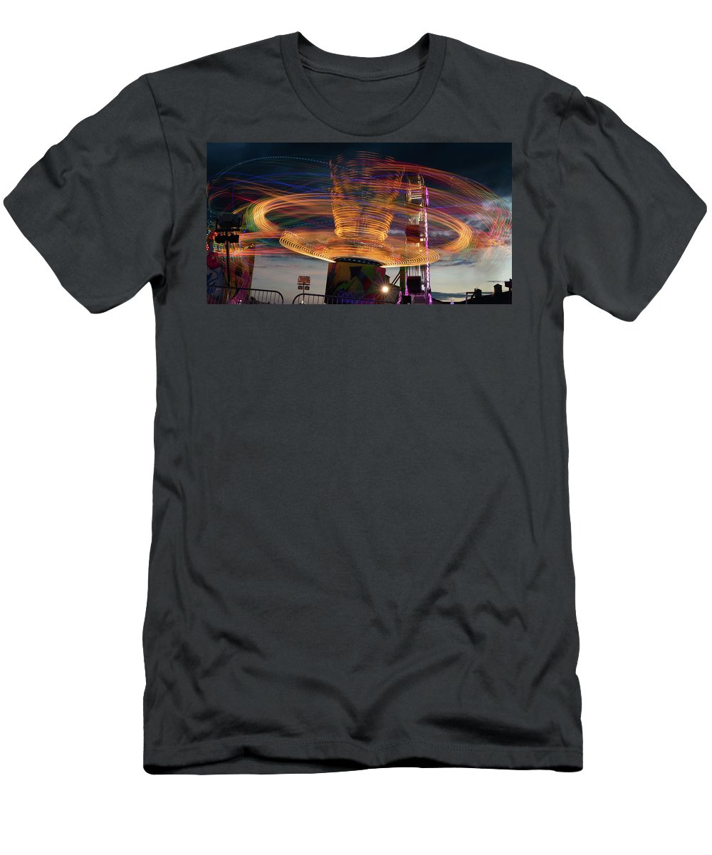 Ride Men's T-Shirt (Athletic Fit) featuring the photograph Carnival Rides Motion Blur by Steve Gadomski