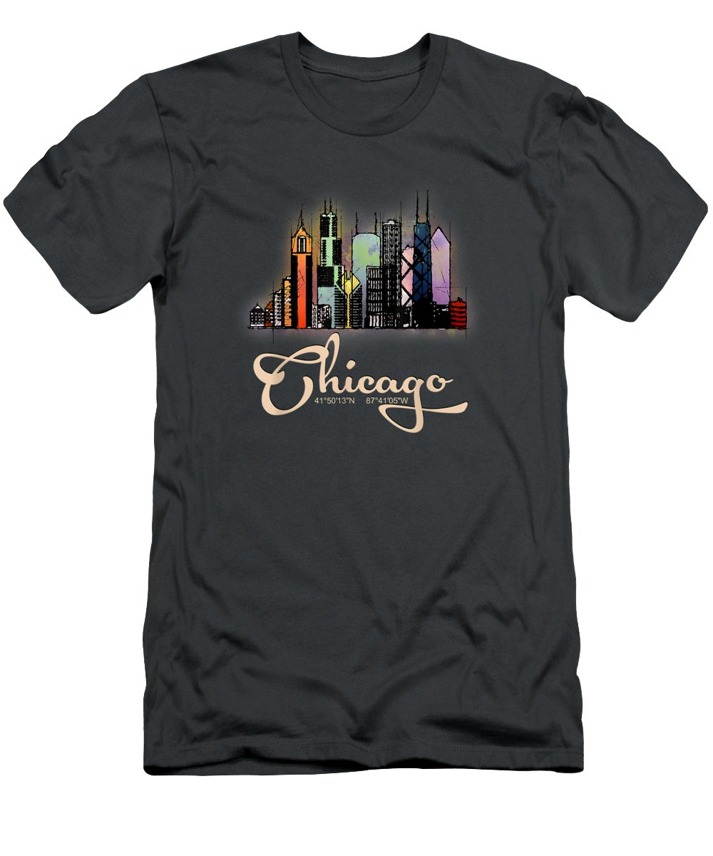 girls' Novelty Clothing T-Shirt featuring the digital art Chicago Illinois Slyline Colorful Tshirt by Do David