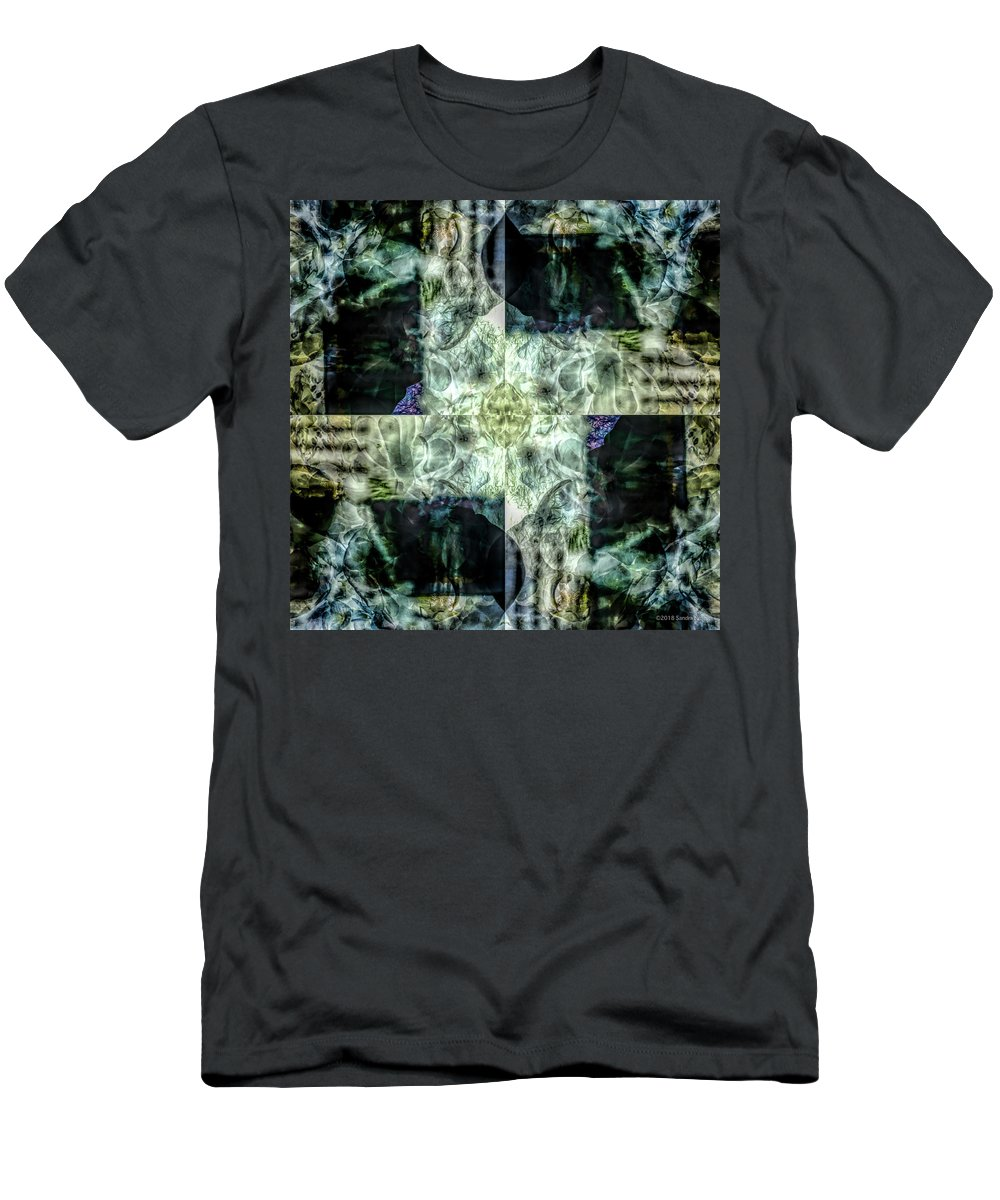 Botanic Flowers Nature Gardenmultiple Exposure Men's T-Shirt (Athletic Fit) featuring the digital art Circling Around Center by Sandra Nesbit