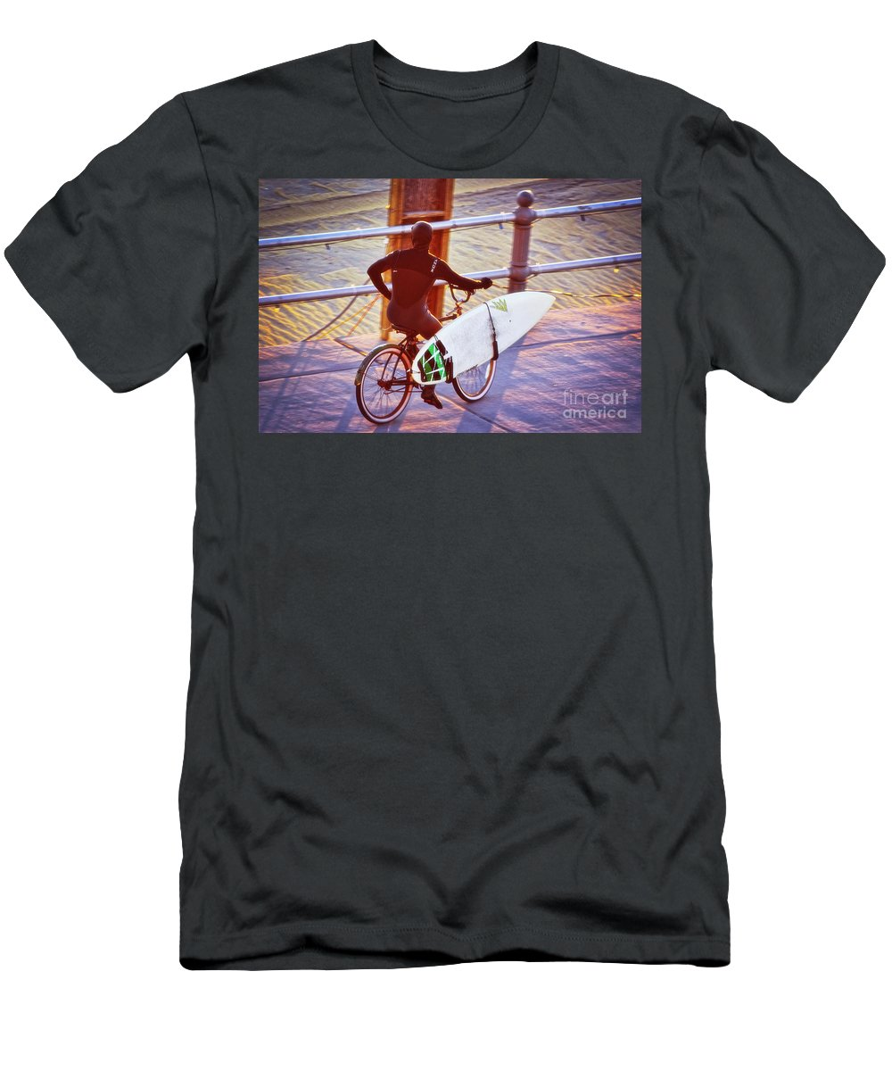 Surfer Men's T-Shirt (Athletic Fit) featuring the photograph Contemplating The Surf by Karin Everhart