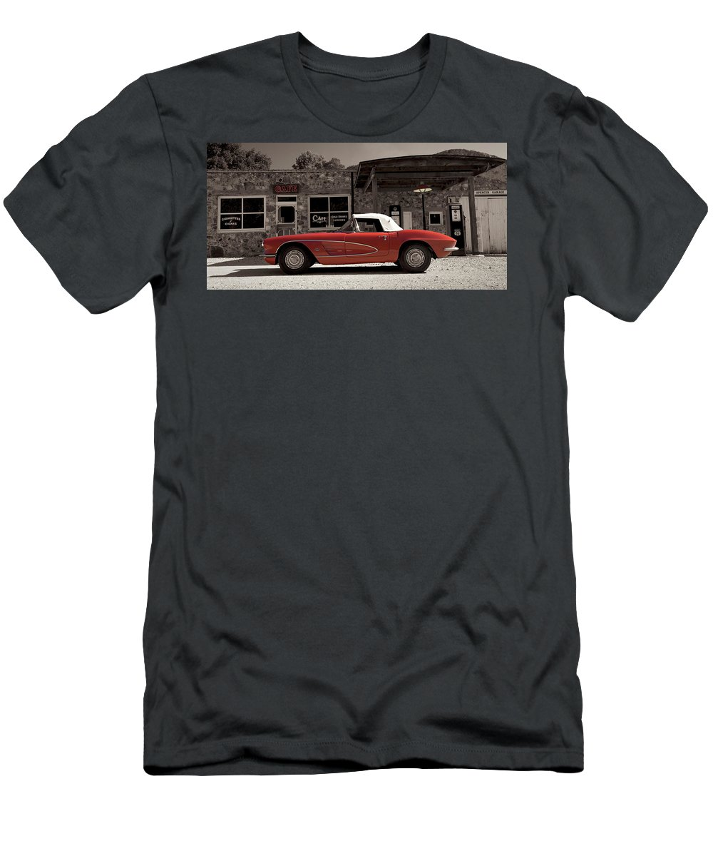 Rt66 Men's T-Shirt (Athletic Fit) featuring the photograph Corvette Cafe - C1 by Jayson Tuntland