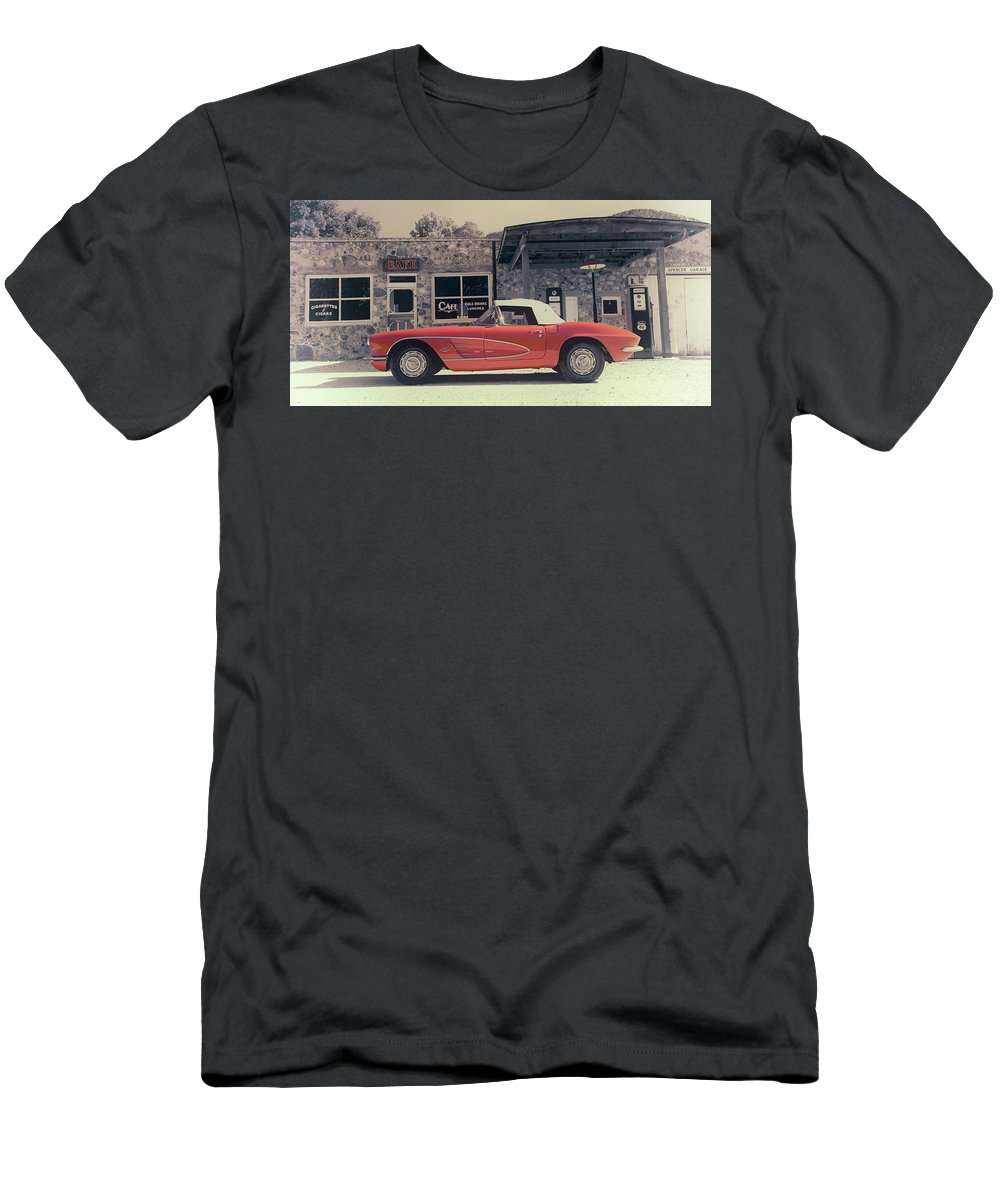 Spencer Men's T-Shirt (Athletic Fit) featuring the photograph Corvette Cafe - C1 - Vintage Film by Jayson Tuntland