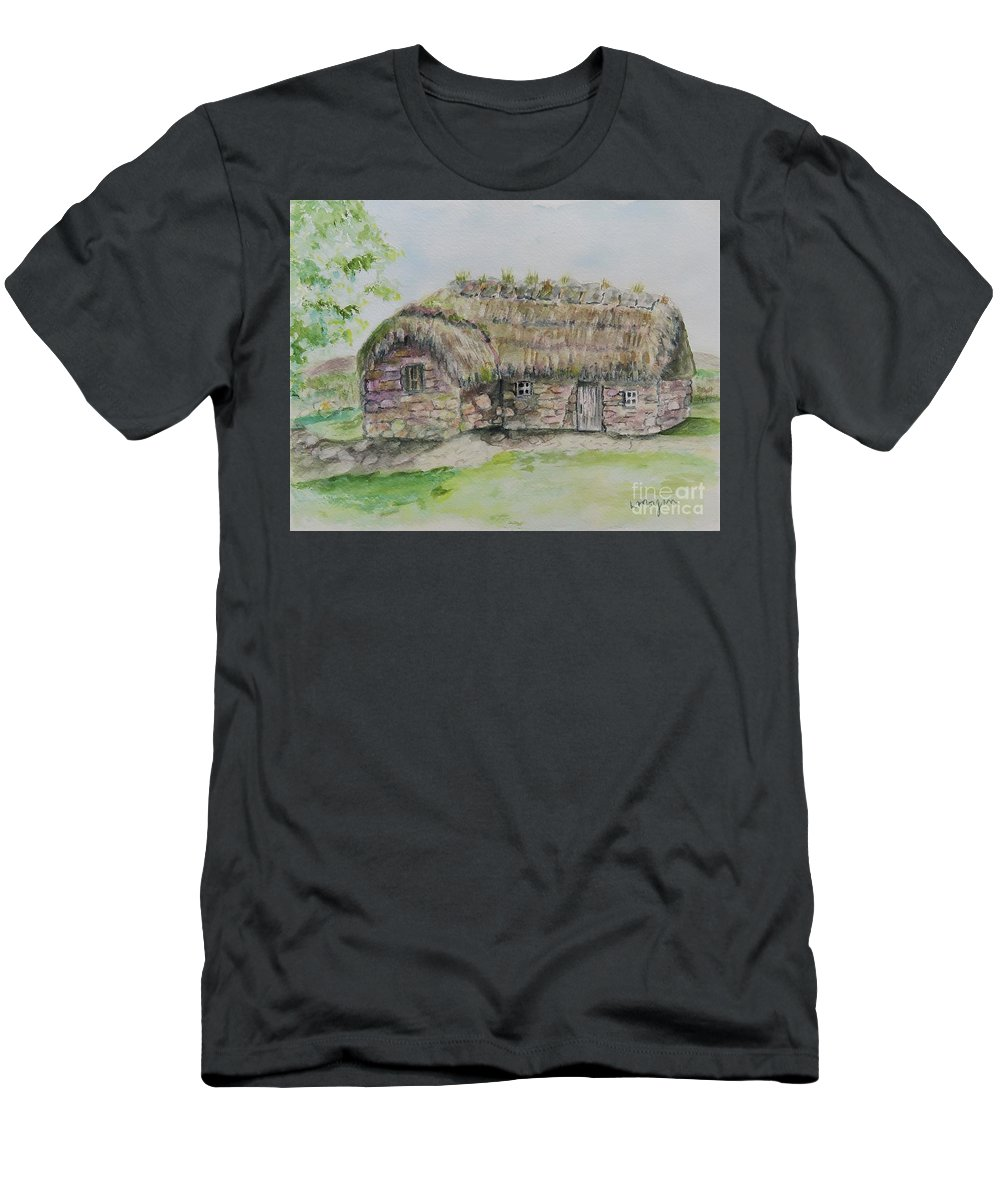 Cottage T-Shirt featuring the painting Cottage on Culloden Moor by Laurie Morgan